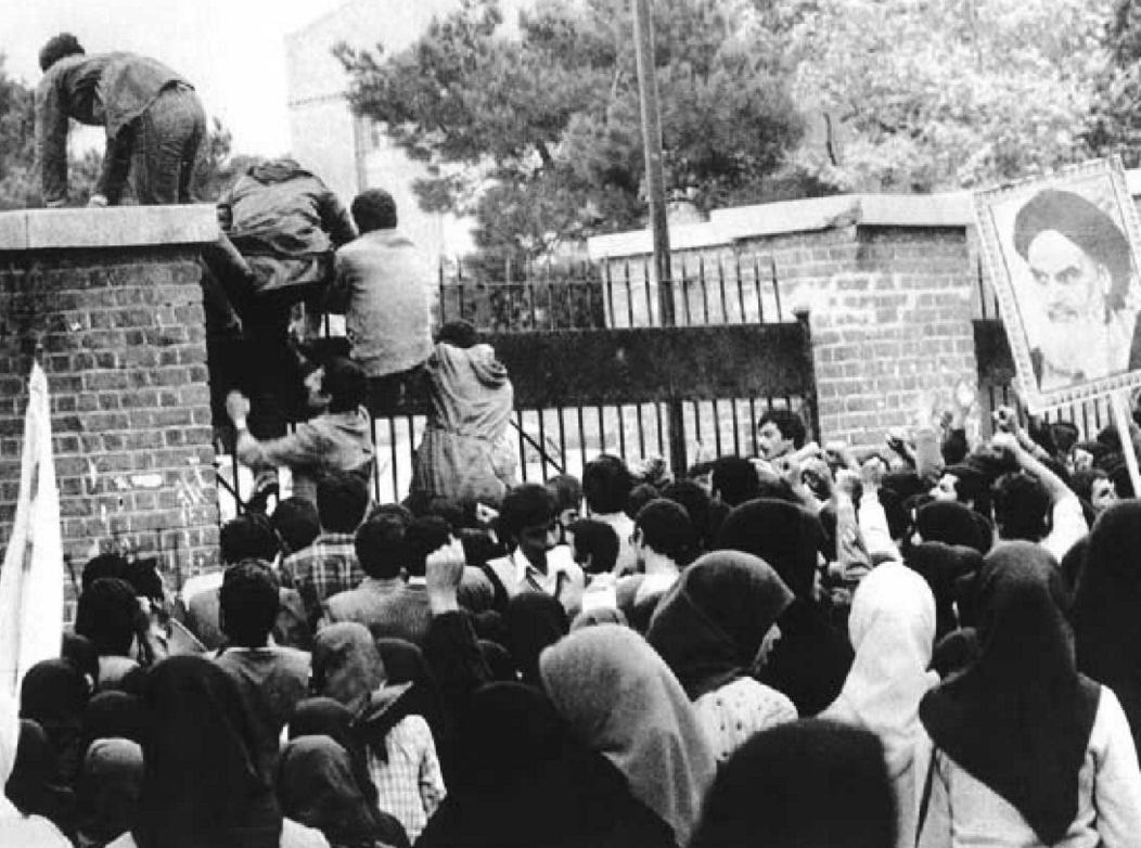 Iranian students storming the US embassy in Tehran
