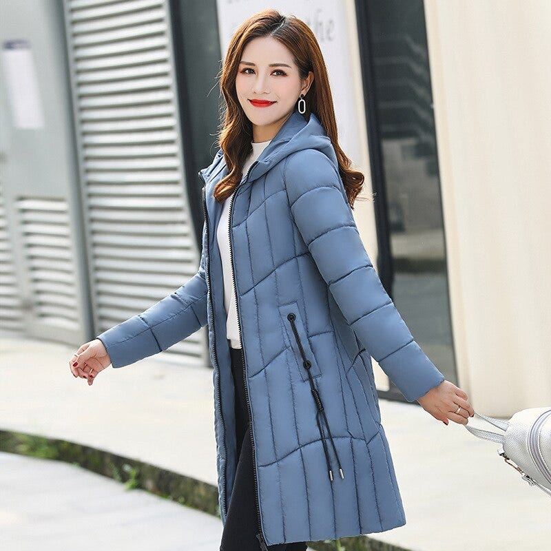 1408356425 2019 Autumn And Winter New Jacket Women Solid Color Long Section Ladies Coats Big Size 5xl Fashion Elegant Cotton Down Parka Women S Clothing Coats Jackets