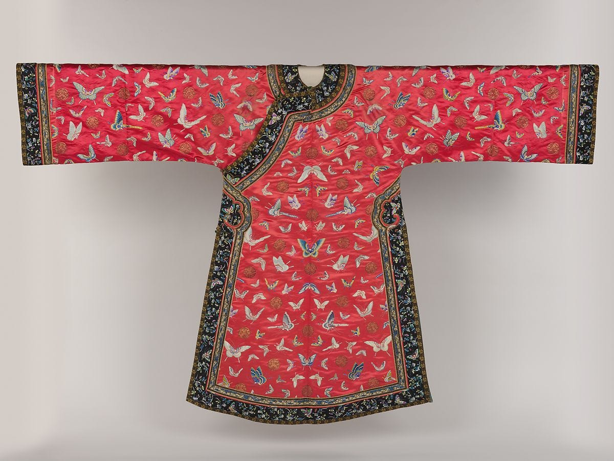 Woman's robe with butterflies, Silk embroidery on silk satin, China