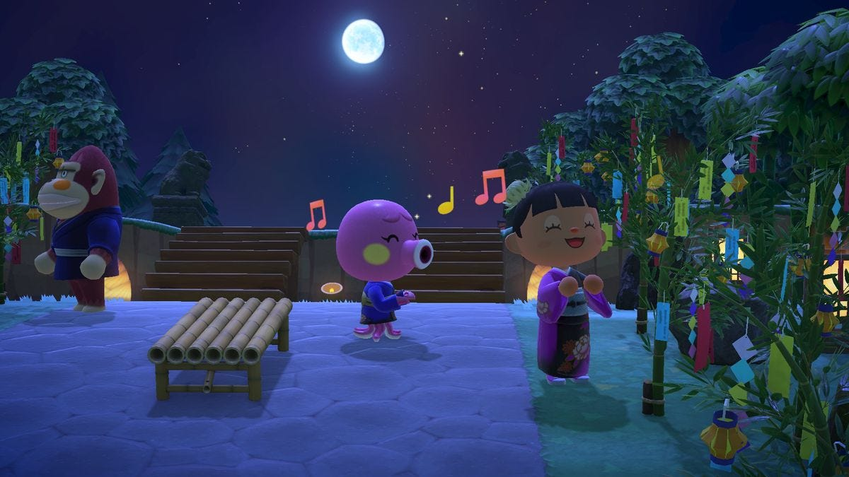 An Animal Crossing villager hangs out with a player wearing a yukata.