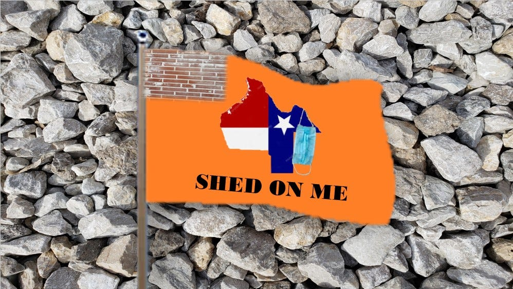 Orange flag with brick canton and state of Texas with mask hanging down