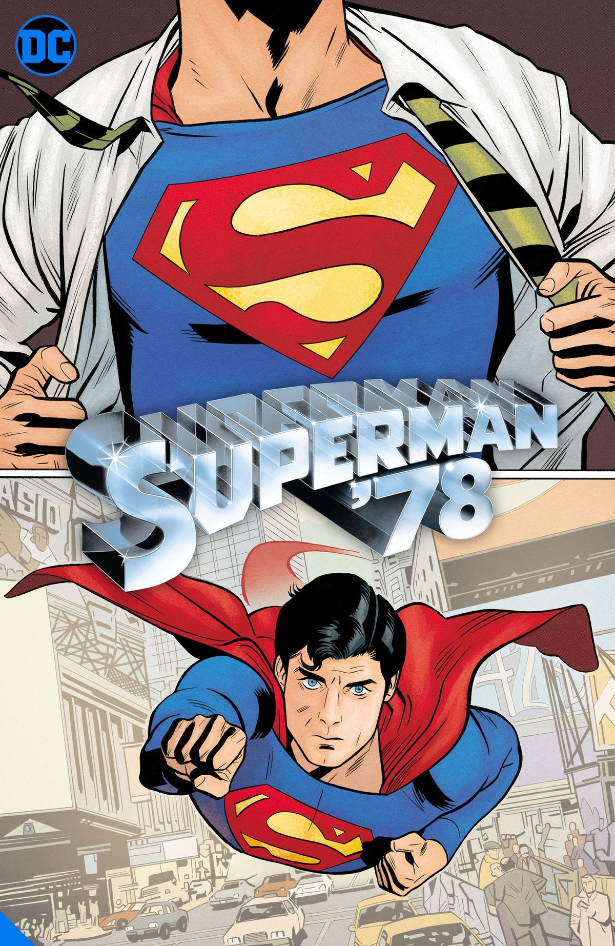 A comic version of Christopher Reeves' Superman flies at screen in Superman 78 from DC Comics