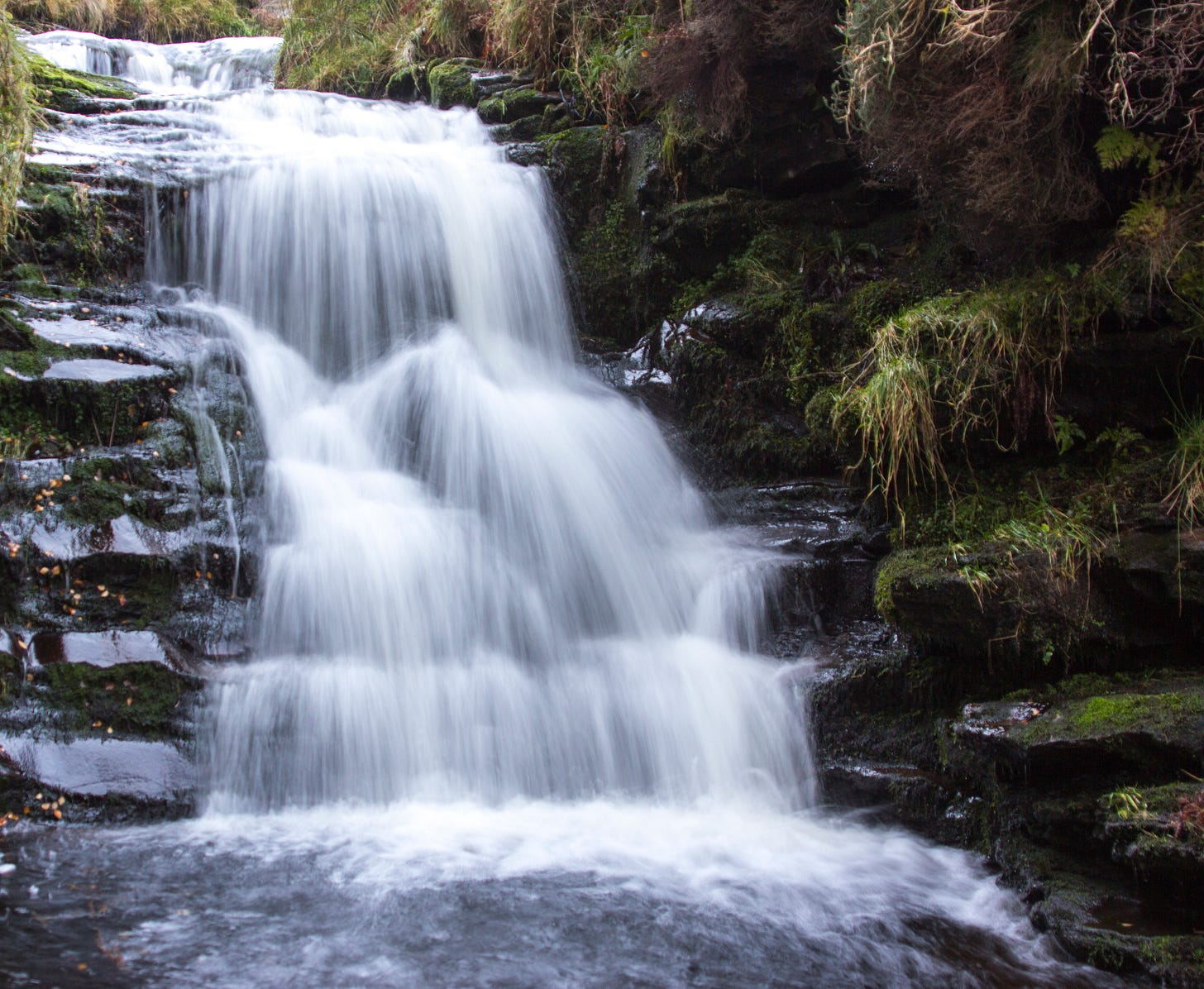 Waterfall along Grindsbrook in the Peak District