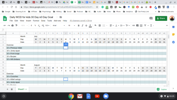 screenshot of a spreadsheet I use for 30-day habit formation