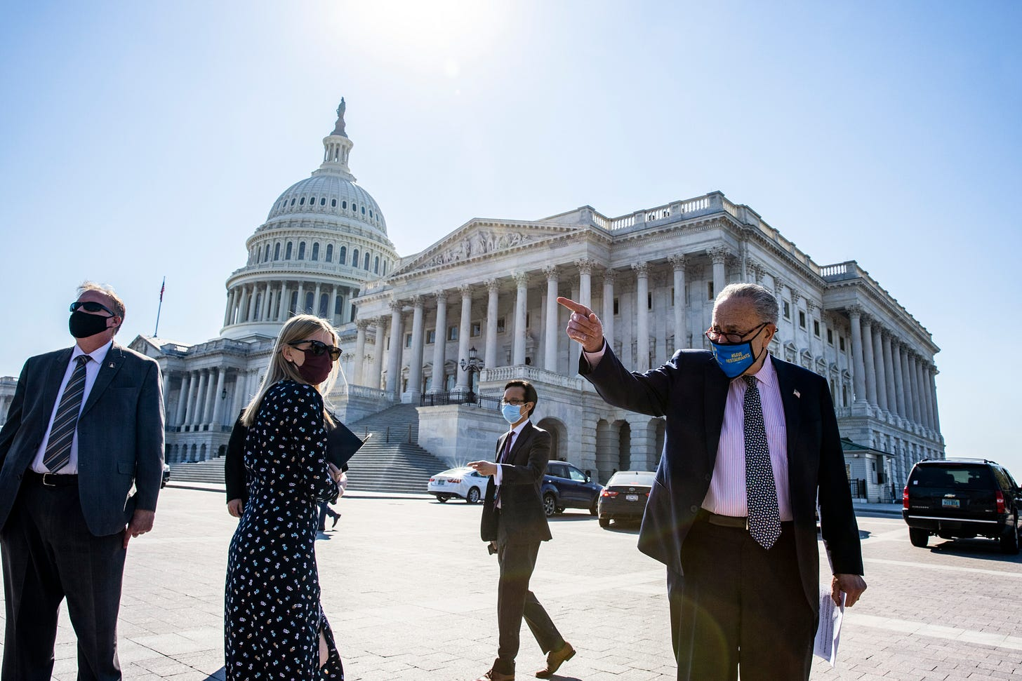U.S. Senate Majority Leader Sen. Chuck Schumer (D-NY) walks to start a press conference at the US Capitol on March 10, 2021 in Washington, DC.