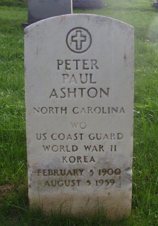 Photograph of Peter Ashton's gravestone