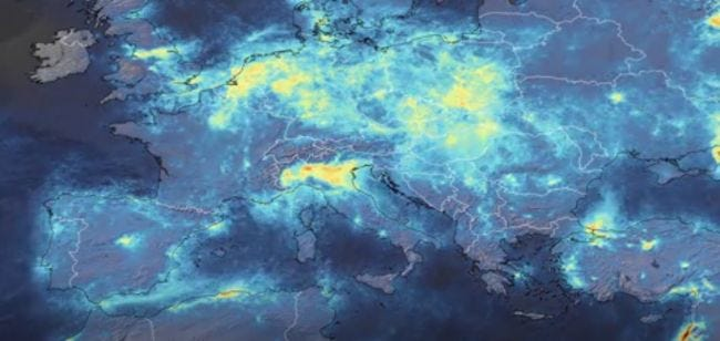 air pollution from space in Italy during COVID