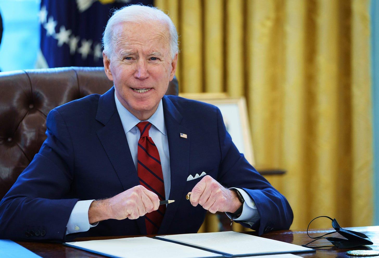 Joe Biden, enjoying his blitz pen on January 28, 2021. (Photo: Getty Images)