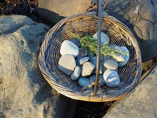 A basket of stones