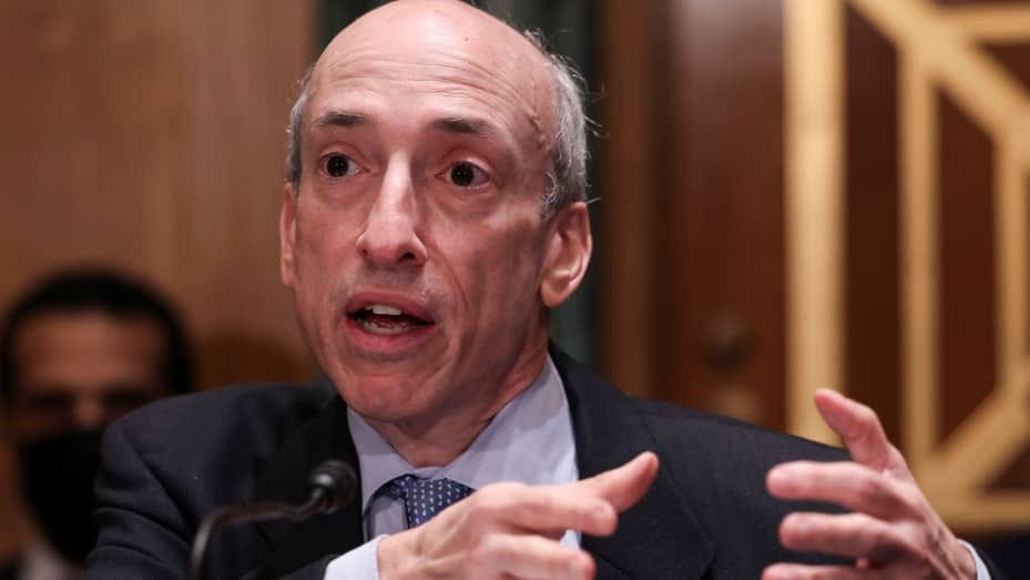 U.S. Securities and Exchange Commission (SEC) Chair Gary Gensler testifies before a Senate Banking, Housing, and Urban Affairs Committee oversight hearing on the SEC on Capitol Hill in Washington, U.S., September 14, 2021.