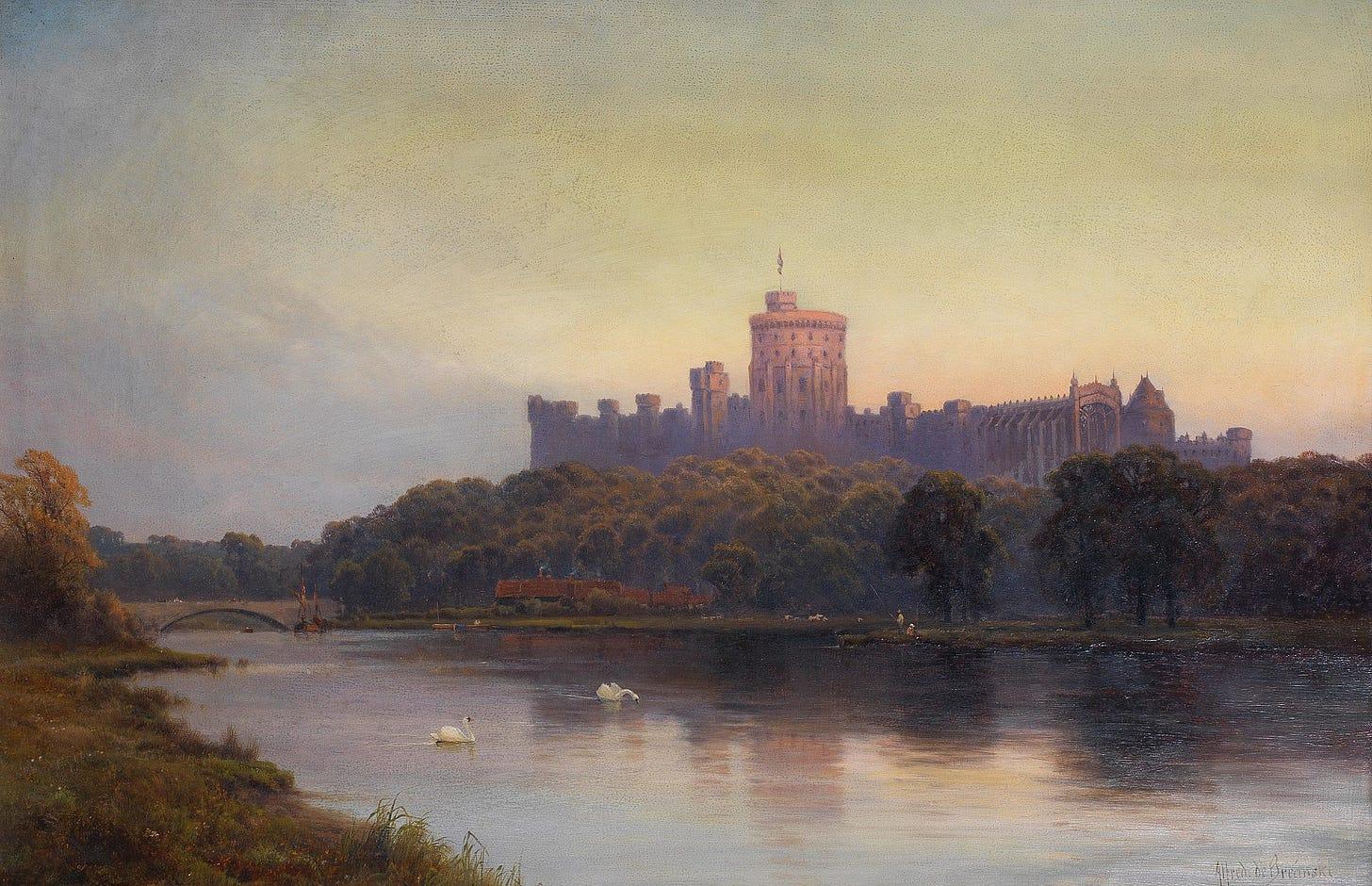 Alfred de Bréanski - Windsor Castle at sunset.jpg