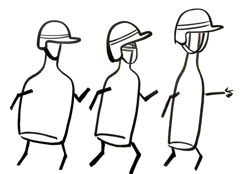 Three anthropomorphic bottles wearing soldier helmets