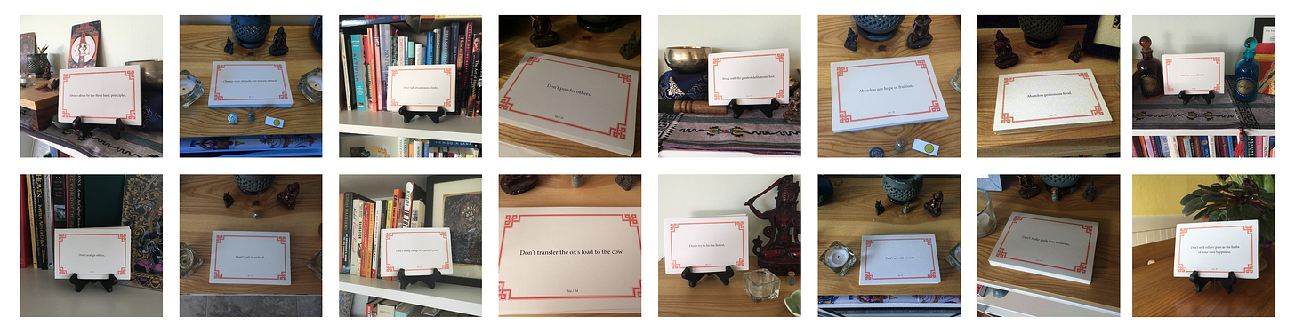 A collage of 16 photos of Lojong slogan cards on display on various surfaces