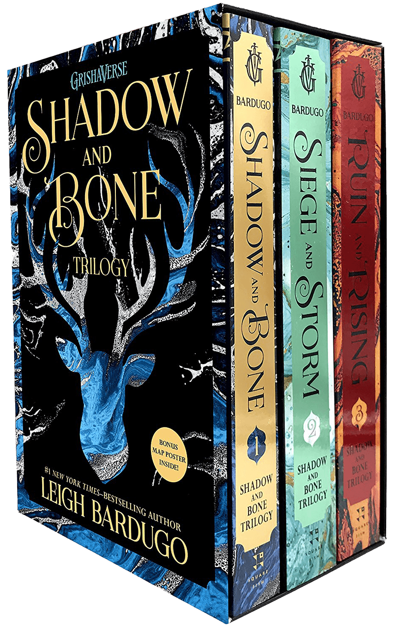Image shows the first three books in the Grishaverse trilogy.