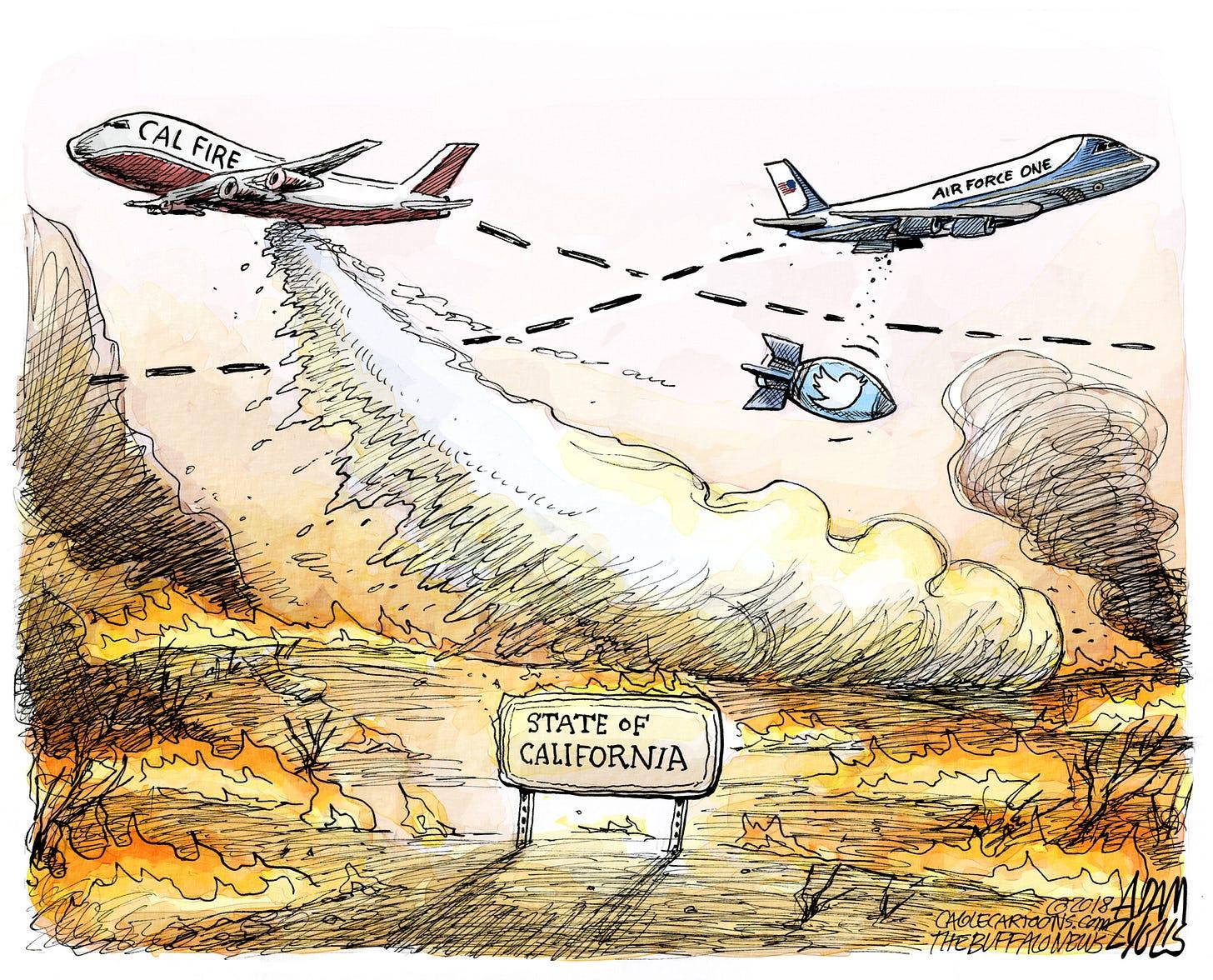 Political cartoons: Trump's response to California wildfires