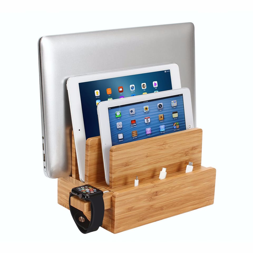 iCozzier 4-Slot Bamboo Watch Stand Removable Multi-device Charging Station and Cord Stand Dock for i Watch, MacBook Air ,Tablets