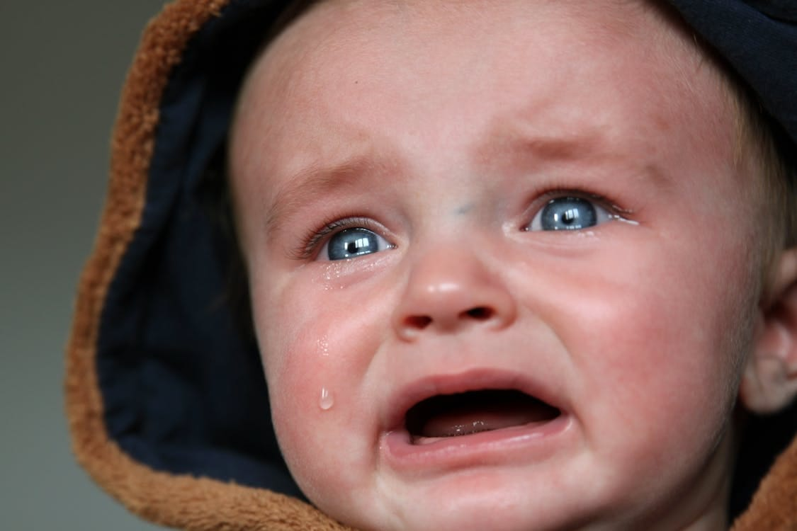Crying Baby in Brown and Black Hooded Top