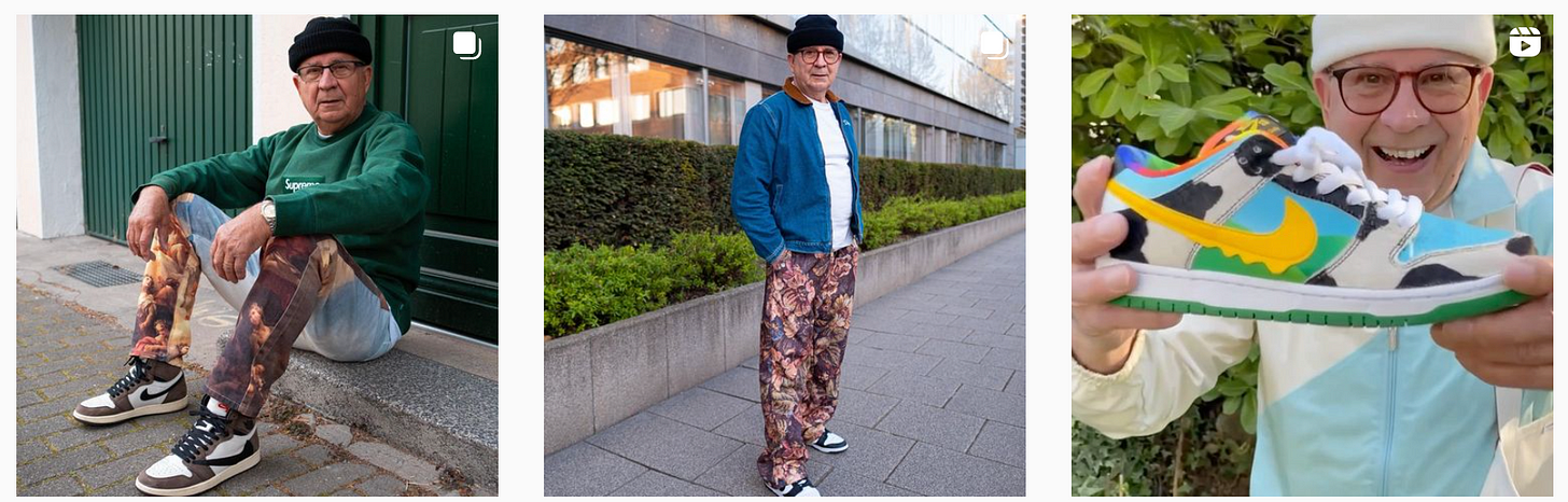older man posting for photos wearing cool clothes