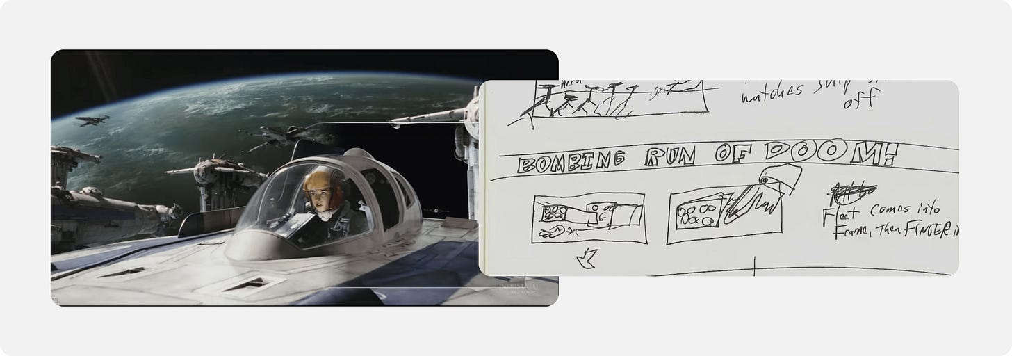 Storyboard sketch of the Last Jedi