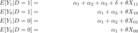 E[Y_1|D=1] &=& \alpha_1 + \alpha_2 + \alpha_3 + \delta + \theta X_{11} \\ E[Y_0|D=1] &=& \alpha_1 + \alpha_3 + \theta X_{10} \\ E[Y_1|D=0] &=& \alpha_1 + \alpha_2 + \theta X_{01} \\ E[Y_0|D=0] &=& \alpha_1 + \theta X_{00}