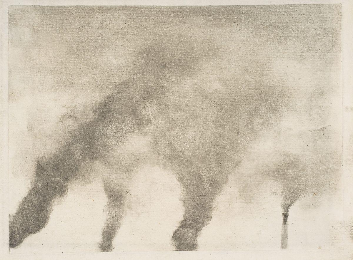 Factory Smoke, Edgar Degas (French, Paris 1834–1917 Paris), Monotype printed in black ink on laid paper