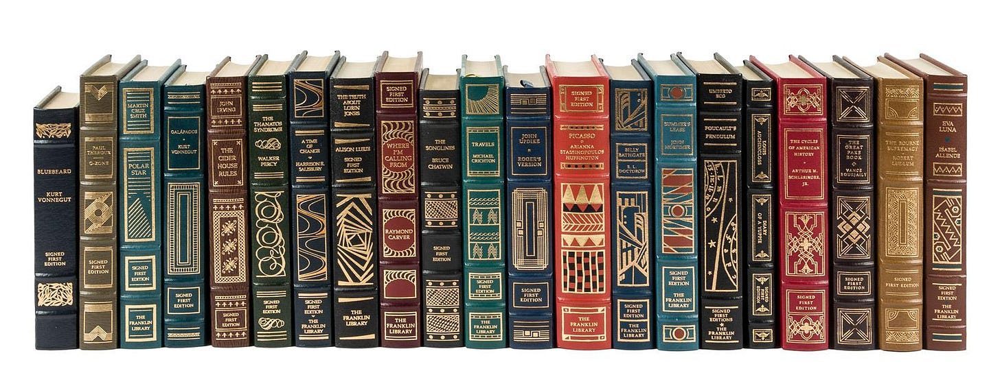 Fifty-six signed first editions from The Franklin Library - Price Estimate:  $1000 - $1500