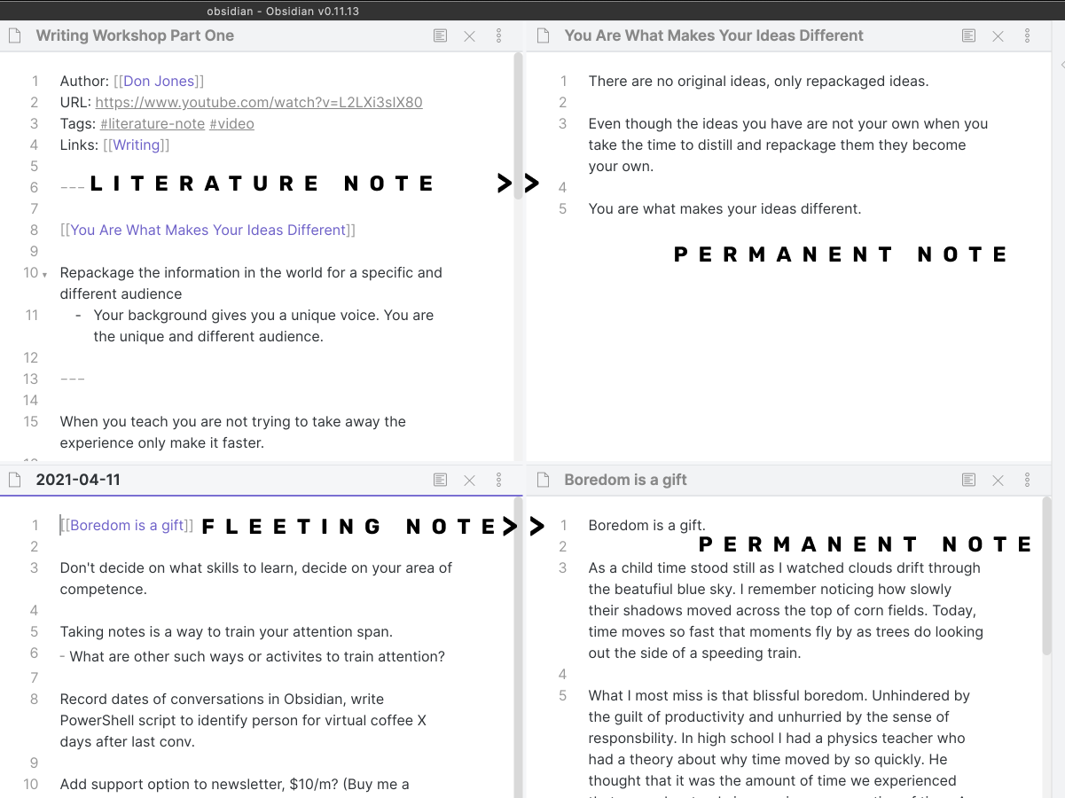 Translating fleeting and literature notes to permanent notes.