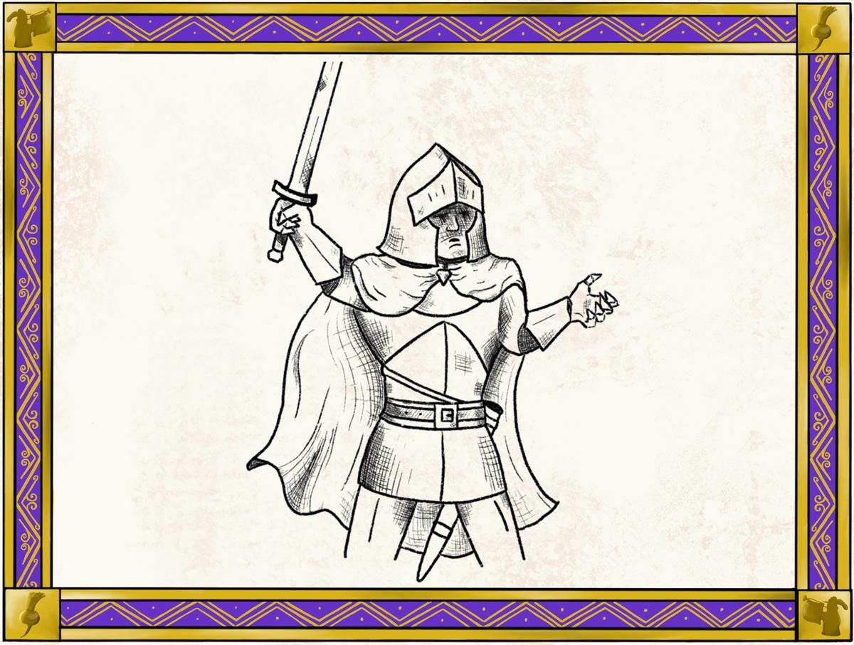 knight holding sword aloft