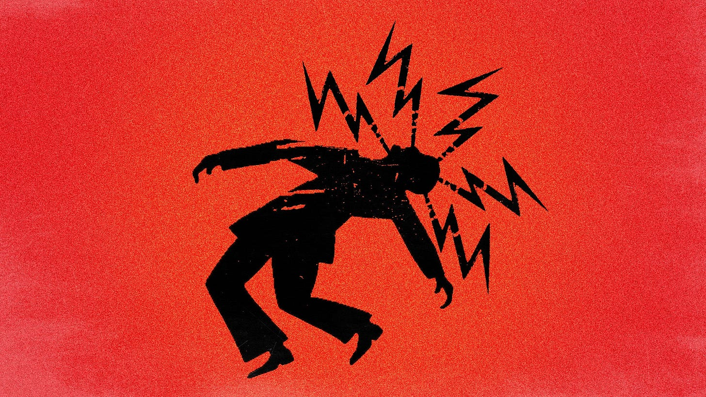 Man with bolts zapping head