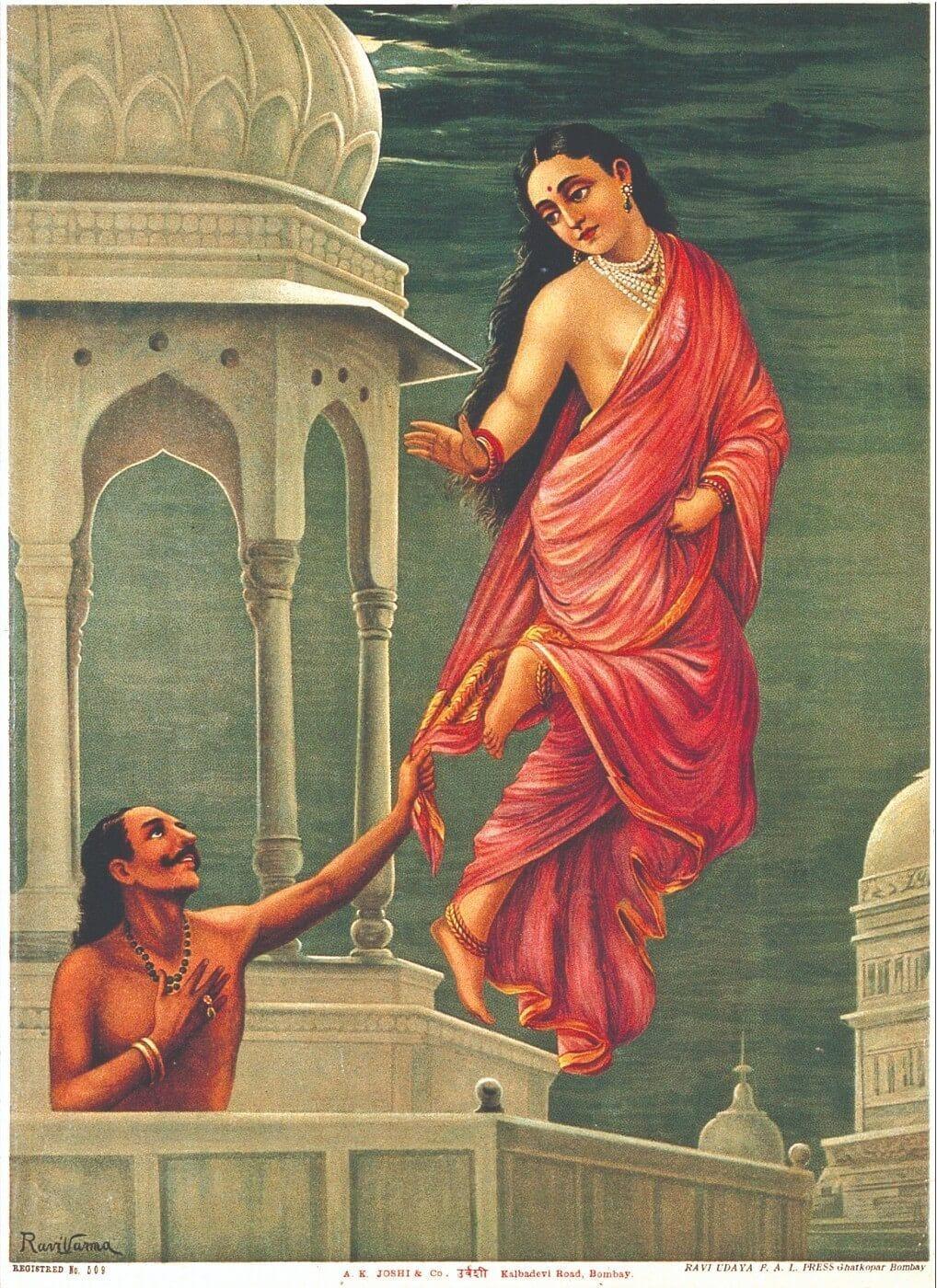 Apsara (Celestial Nymph) Urvashi and King Pururavas - Raja Ravi Varma  Chromolithograph Print - Indian Masters Painting - Canvas Prints by Raja  Ravi Varma | Buy Posters, Frames, Canvas & Digital Art
