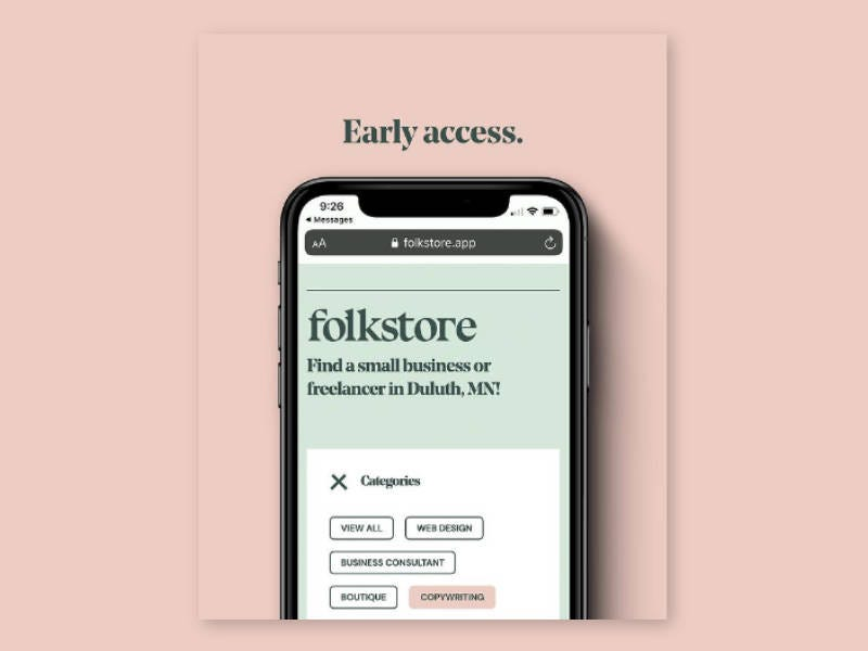 Instagram post showing initial site design of Folkstore