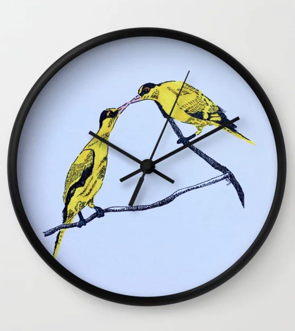 Commitment | line illustration of birds Wall Clock