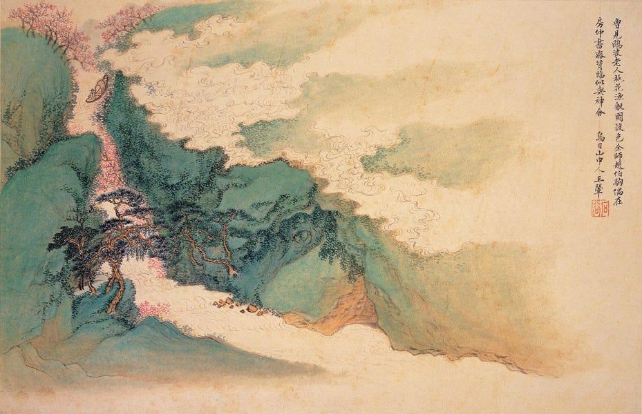 Wang Hui: Peach Blossom, Fishing Boat