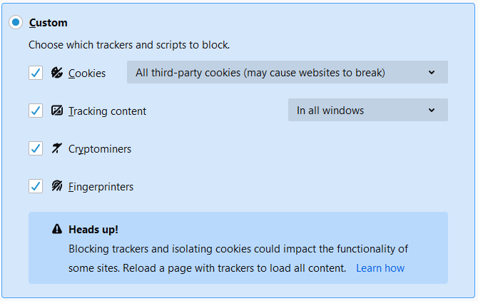 Blocking 3rd party cookies on Firefox