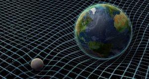 Teoria da relatividade - Planeta terra numa rede no espaço ao lado de outro planeta bem pequeno