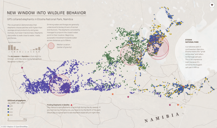 A map of African wildlife behavior done with scatter plots. Purple scatterplots are in the bottom left as a group, while a lot of blue dots in the top right are overlapping with yellow and green dots, making it kind of look purple.
