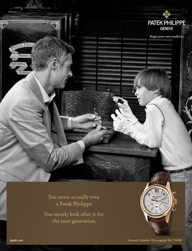 A Patek Philippe Ad (Image: Persuasion and Influence Blog)