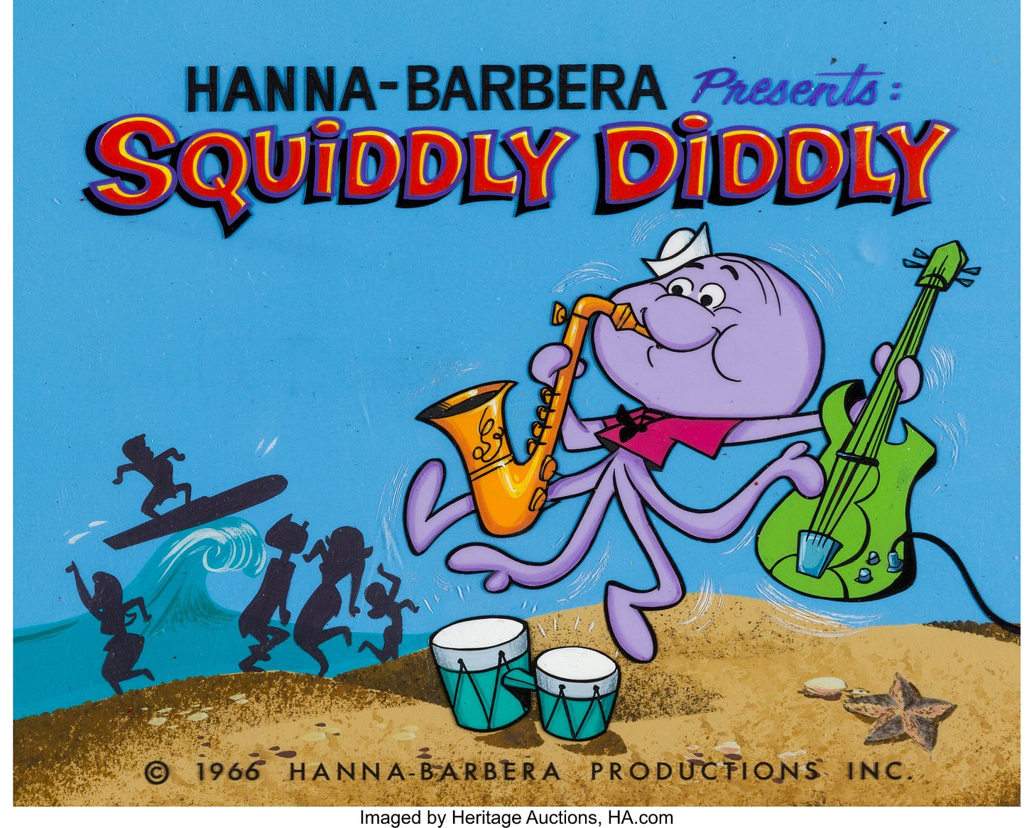 Atom Ant/Secret Squirrel Show Squiddly Diddly Title Cel Setup with | Lot  #97405 | Heritage Auctions