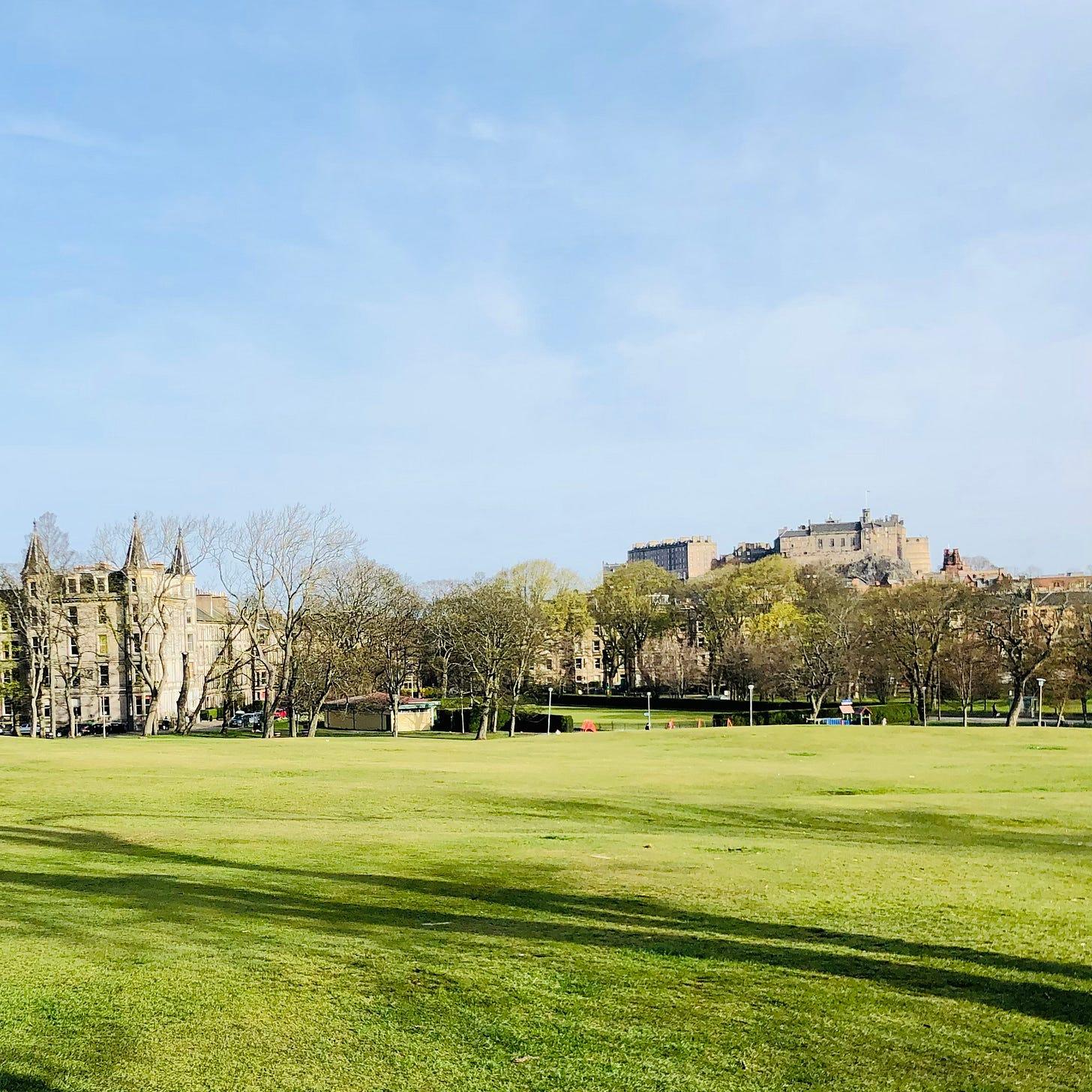 Image shows Edinburgh Castle, viewed from Bruntsfield Links