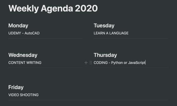 My weekly agenda