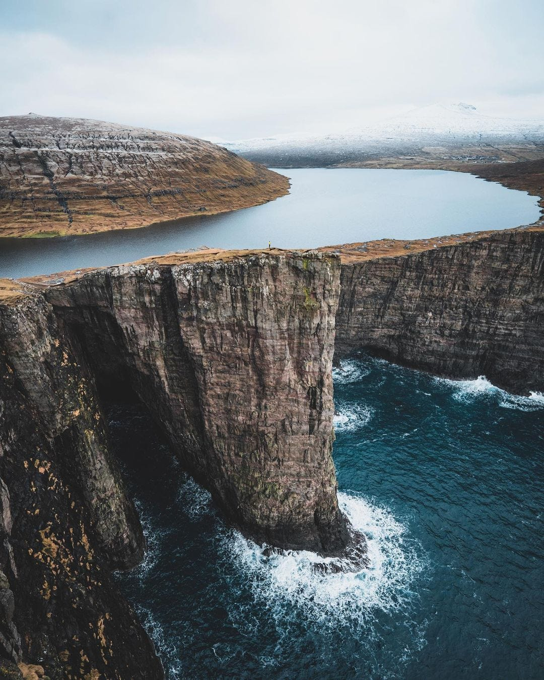Cliff with lake on top and ocean below