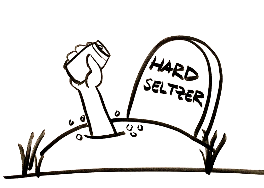 A zombie hand emerge from a grave for hard seltzer