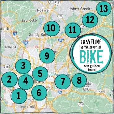 Map showing locations of welcoming bike routes