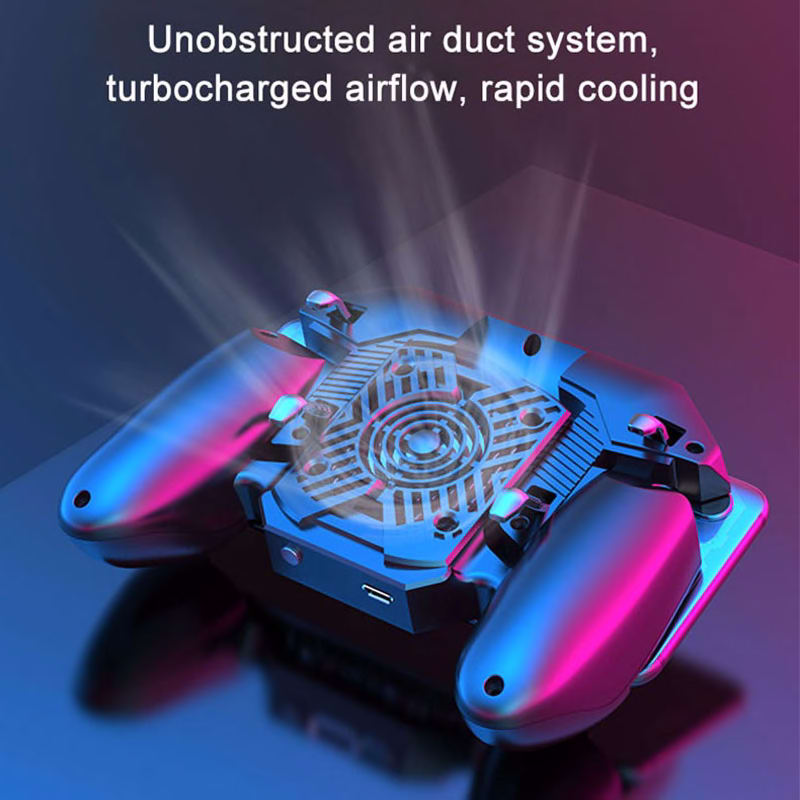 New PUBG Gamepad Grip With Portable Charger Cooling Fan For PUBG Mobile Controller Six Finger L1R1 Game Trigger Joystick