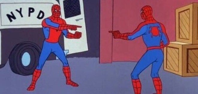 Spider-Man Pointing at Spider-Man   Know Your Meme