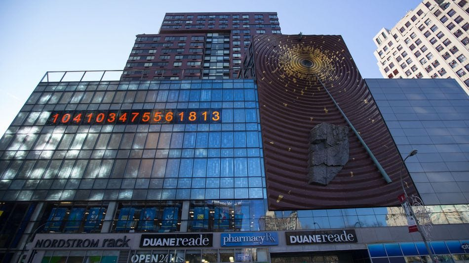 The Metronome digital clock in Union Square has been reset.