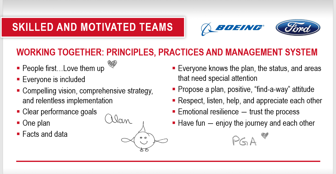 "SKILLED AND MOTIVATED TEAMS  WORKING TOGETHER: PRINCIPLES, PRACTICES AND MANAGEMENT SYSTEM  • People first.. Love them up  • Everyone is included  • Compelling vision, comprehensive strategy,  and relentless implementation  • Clear performance goals  • One plan  • Facts and data  • Everyone knows the plan, the status, and areas  that need special attention  • Propose a plan, positive, ""find-a-way"" attitude  • Respect, listen, help, and appreciate each other  • Emotional resilience — trust the process  • Have fun — enjoy the journey and each other"