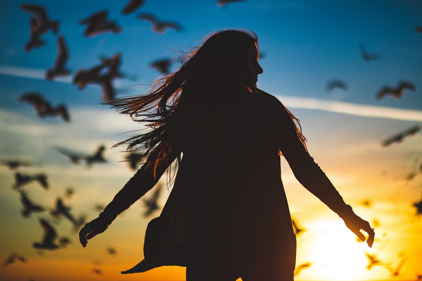 """silhouette of a woman against a setting sun with birds in the background for article titled """"Maslow Peak Experience"""""""