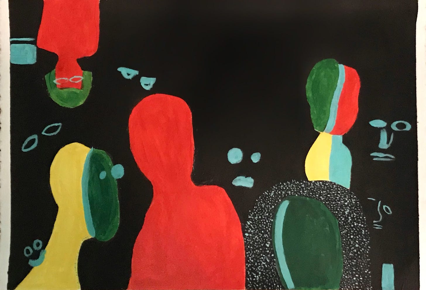 In the black background of the piece, there are ghostly blue expressions staring at us. In the forefront, there are five humanoid figures: on the top left there is an upside down red figure with green hair and glasses, on the bottom left there is a right side up figure with a yellow back and bluish-green face, in the middle of the frame there is a fully red figure with no facial features, on the right bottom corner there is a dark green figure with spotted black hair, and finally on the top right there is a multicolored figure (green, blue, red, and yellow).