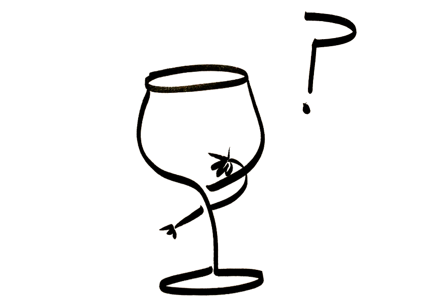 An anthropomorphic wine glass ponders the great questions of life